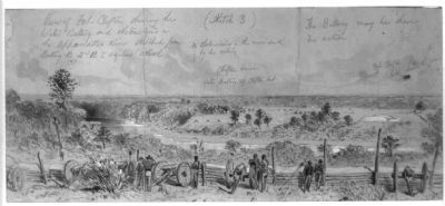 View of Fort Clifton showing the Water Battery and obstructions in the Appomattox River image. Click for full size.