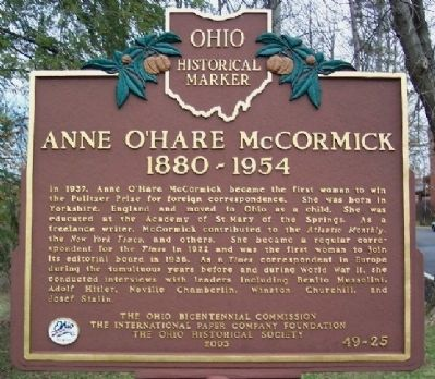 Anne O'Hare McCormick Marker image. Click for full size.