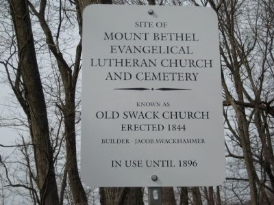 Site of Mount Bethel Evangelical Lutheran Church and Cemetery Marker image. Click for full size.