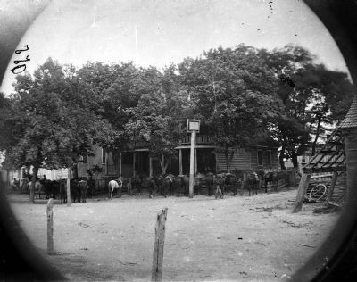 Cold Harbor, Va, vicinity. Cavalry horses outside the Old Church Hotel. <i>Library of Congress</i> image. Click for full size.