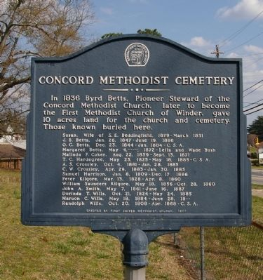 Concord Methodist Cemetery Marker image. Click for full size.
