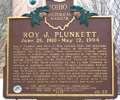 Roy J. Plunkett Marker image. Click for full size.