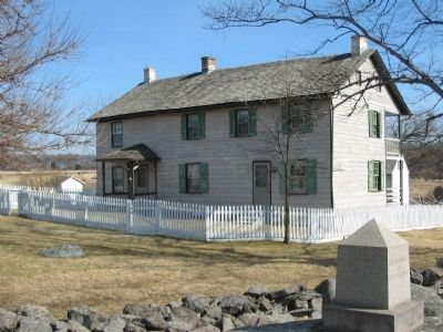 150th New York Infantry Marker in Front of the Trostle House image. Click for full size.