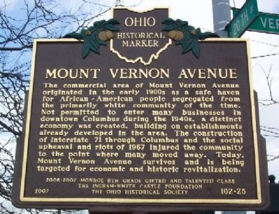 Mount Vernon Avenue Marker image. Click for full size.