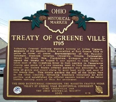 Treaty of Greene Ville 1795 Marker (Side A) image. Click for full size.