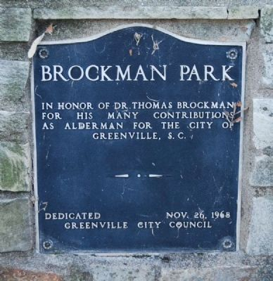 Brockman Park Marker -<br>Lower Plaque image. Click for full size.