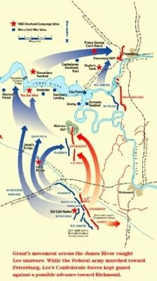 Grant's movement from Cold Harbor to Petersburg. image. Click for full size.