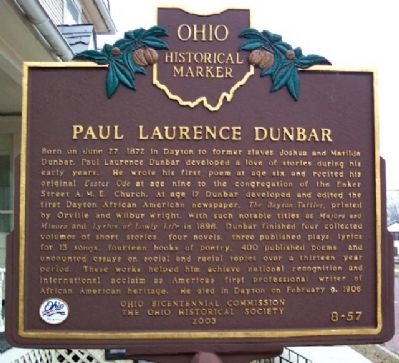Paul Laurence Dunbar Marker image. Click for full size.