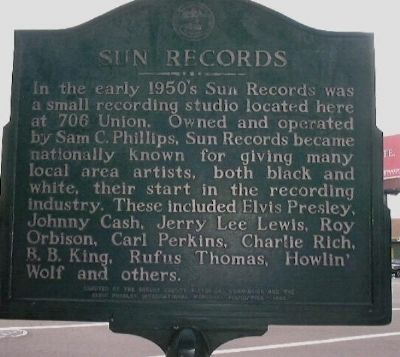 Sun Records Marker image. Click for full size.