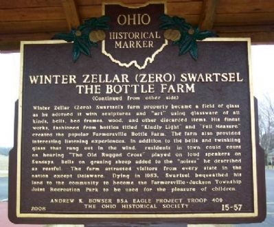 Winter Zellar (Zero) Swartsel The Bottle Farm Marker (Side B) image. Click for full size.