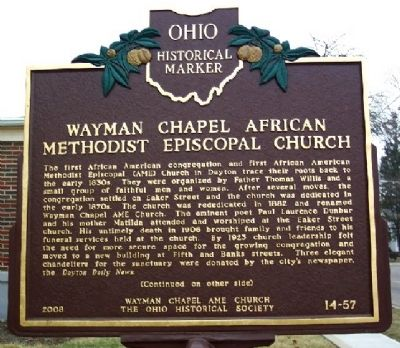 Wayman Chapel African Methodist Episcopal Church Marker (Side A) image. Click for full size.