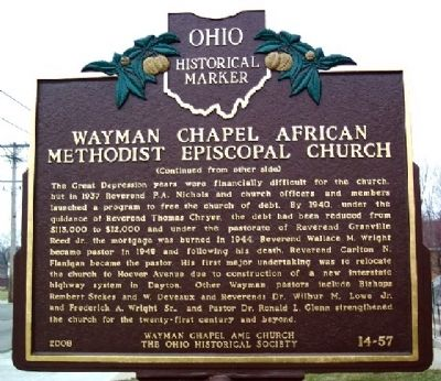 Wayman Chapel African Methodist Episcopal Church Marker (Side B) image. Click for full size.
