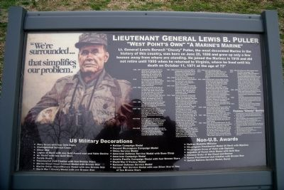 Lieutenant General Lewis B. Puller Marker image. Click for full size.