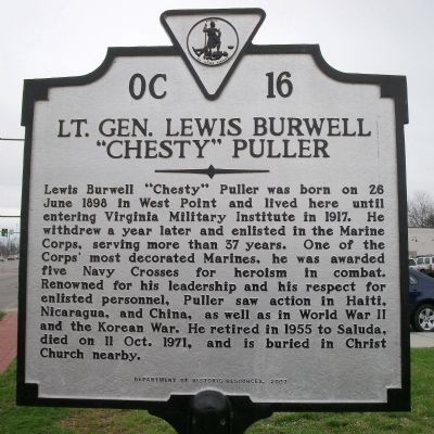 "Lt. Gen. Lewis Burwell ""Chesty"" Puller Marker image. Click for full size."