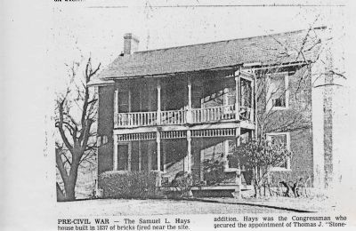 """Old Brick"" Home built by Samuel Lewis Hays image. Click for full size."