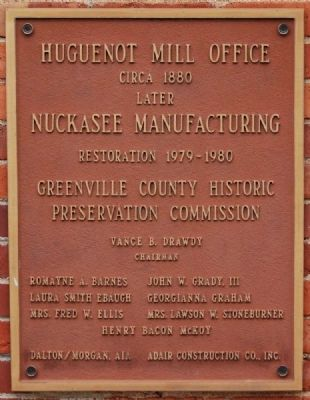 Huguenot Mill Office Marker image. Click for full size.