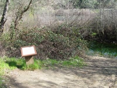 The Tailrace Marker and Trace of the Original Trailrace on the Right image. Click for full size.