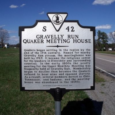 Gravelly Run Quaker Meeting House Marker image. Click for full size.