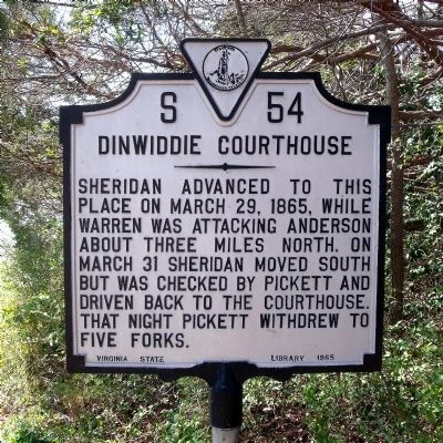 Dinwiddie Courthouse Marker image. Click for full size.