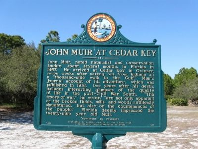 John Muir at Cedar Key Marker image. Click for full size.