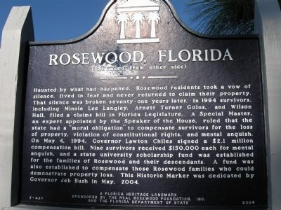 Rosewood, Florida Marker side 2 image. Click for full size.