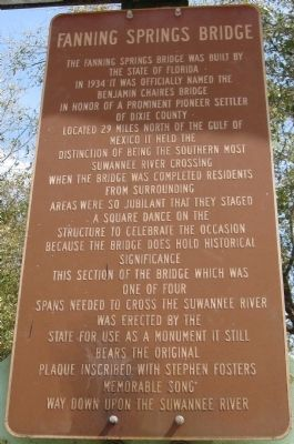Fanning Springs Bridge Marker image. Click for full size.