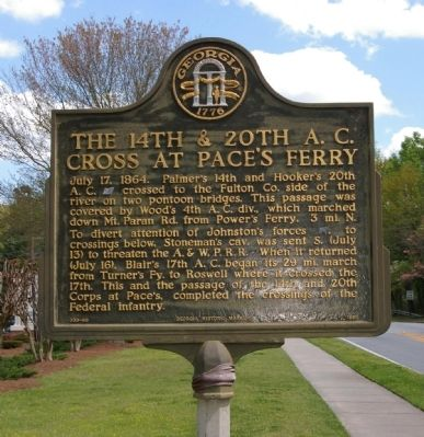 The 14th & 20th A.C. Cross at Pace's Ferry Marker image. Click for full size.
