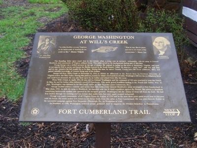 George Washington at Will's Creek Marker image. Click for full size.