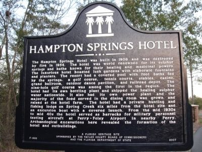 Hampton Springs Hotel Marker image. Click for full size.