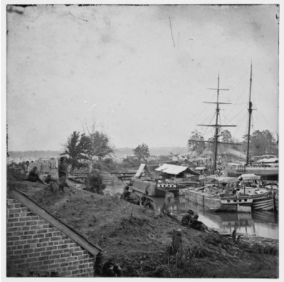 White House Landing, Va. Supply vessels at anchor. image. Click for full size.