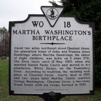 Martha Washington's Birthplace Marker image. Click for full size.