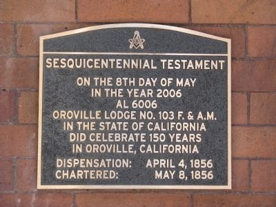 Oroville Masonic Temple Marker image. Click for full size.
