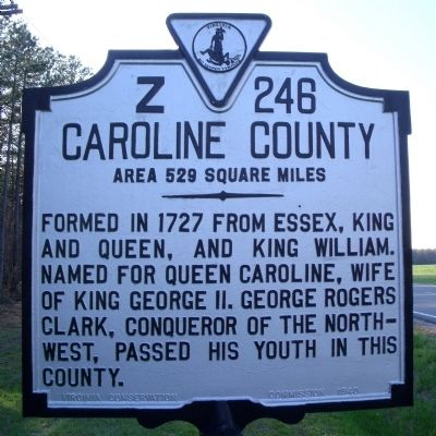 Caroline County Marker (obverse) image. Click for full size.