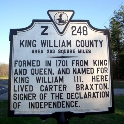 King William County Marker (reverse) image. Click for full size.