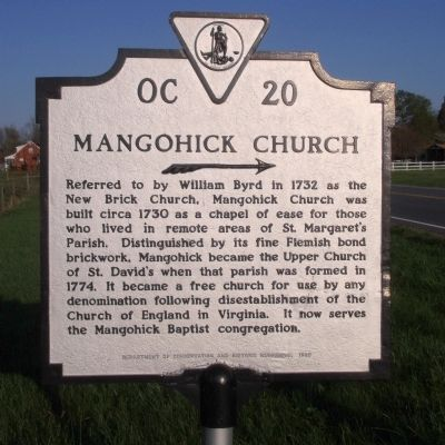 Mangohick Church Marker image. Click for full size.