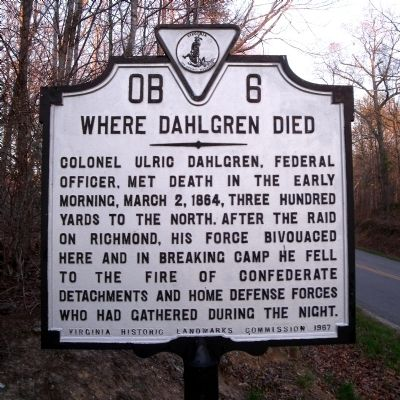 Where Dahlgren Died Marker image. Click for full size.