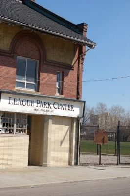 League Park Marker location, next to the ticket office image. Click for full size.