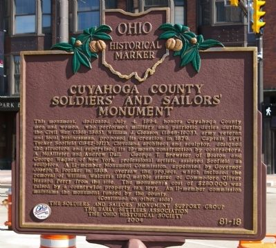 Cuyahoga County Soldiers' and Sailors' Monument Marker image. Click for full size.