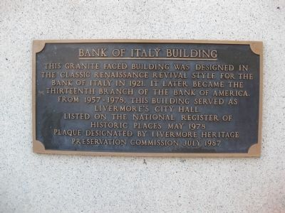 Bank of Italy Building Marker image. Click for full size.