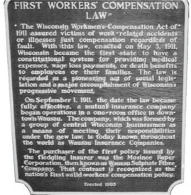 First Workers' Compensation Law Marker image. Click for full size.