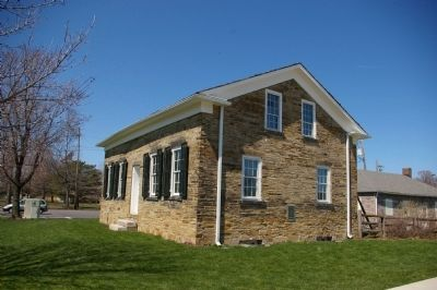 Oldest Stone House Marker location, on the east side of the house image. Click for full size.