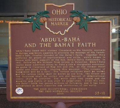 Ábdu'l-Bahá and the Bahá'í Faith Marker image. Click for full size.