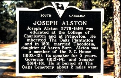 Joseph Alston Marker image. Click for full size.