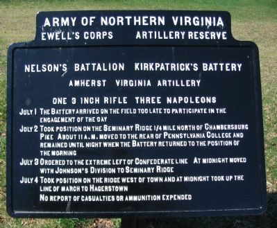 Kirkpatrick's Battery - Nelson's Battalion Tablet image. Click for full size.