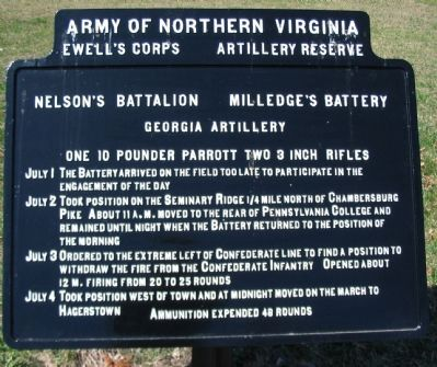 Milledge's Battery - Nelson's Battalion Tablet image. Click for full size.