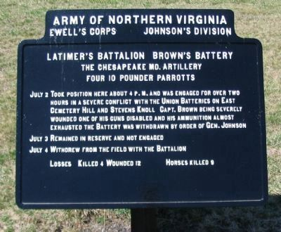 Brown's Battery - Latimer's Battalion Tablet image. Click for full size.