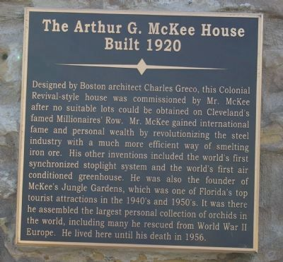 The Arthur G. McKee House Marker image. Click for full size.