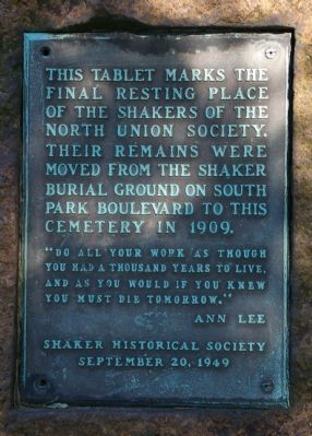 This Tablet Marks the Final Resting Place of the Shakers of the North Union Society Marker image. Click for full size.