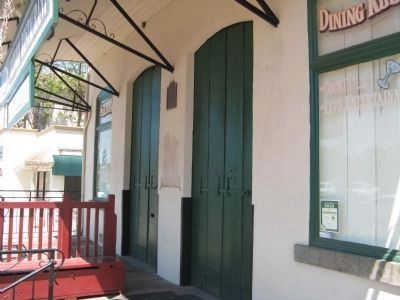 Hasman Building/General Store Marker and Metal Doors image. Click for full size.