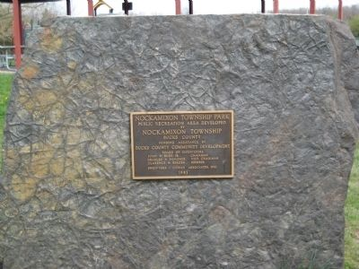 Plaque at Nockamixon Township Park image. Click for full size.